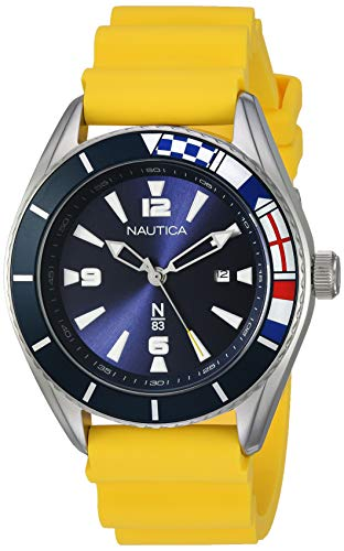 Nautica N83 Men's NAPUSS904 Urban Surf Yellow/Black Silicone Strap Watch ()