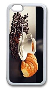MOKSHOP Adorable coffee croissant breakfast Soft Case Protective Shell Cell Phone Cover For Apple Iphone 6 Plus (5.5 Inch) - TPU White