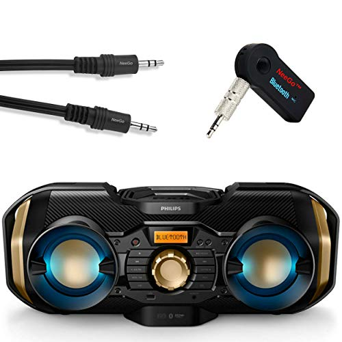 Philips Bluetooth Boombox Bundle [3] Piece Set Includes Light up Speaker Boombox 3.5mm Wireless Bluetooth Receiver; Stream Music from Device Through Any Home or Car Speaker + A 3.5mm AUX Cord (Home Stereo Receiver Phillips)
