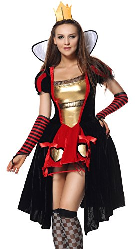 [Sibeawen Women's Wicked Queen Plus Size Fairy Tale Costumes Black-red XX-Large] (Plus Size Queen Of Hearts)