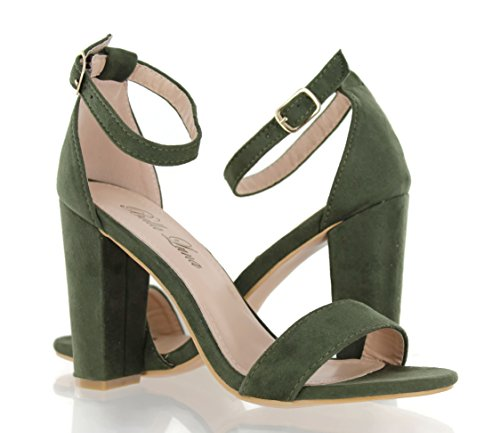 Pictures of Urban Heel Chunk Heel Sandals Ankle Strap Olive 7 M US 1