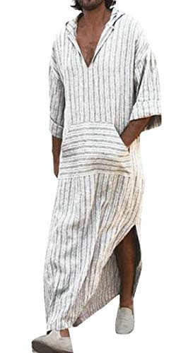 Etecredpow Men Top Stripe Thobe Hoodie Short Sleeve for sale  Delivered anywhere in USA