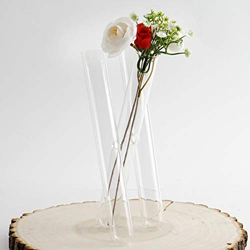 Glass Flower Tubes - Efavormart 3 Clear Glass Conjoined Test Tube Flower Vase Plant Decoration - Set of 2