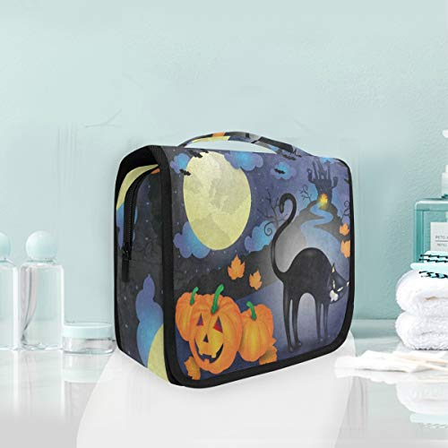 Toiletry Bag Halloween Pumpkin Cat Cloud Moon Castle House Hanging Organizer Bag Wash Gargle Bag Cosmetic Bag Portable Makeup Pouch with Hanging Hook -