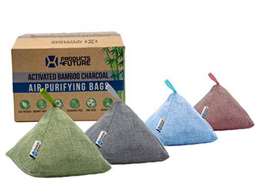 4 Pack of 200g Naturally Activated Bamboo Charcoal Air Purifying Bags | Natural Home Deodorizer Bags | Organic, Eco Friendly & Chemical Free | Odor Eliminator & Moisture Absorber Freshener Bags