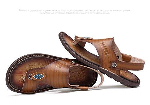 Sommer neue Männer Freizeit Sandalen Faser wasserdicht weichen Boden Dual Verwendung Beach Schuhe, Khaki, UK = 7, EU = 40 2/3