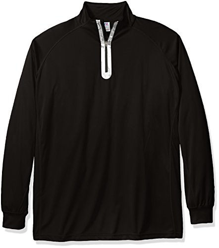 Russell Athletic Men's Big and Tall Quarter Zip Performance Sweater, Black/Black, 2XLT