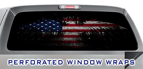 ITI Global Designs DARK PRIDE 001 WINDOW WRAP : USA American Flag : Red White Blue : Truck Car Rear Decal Sticker