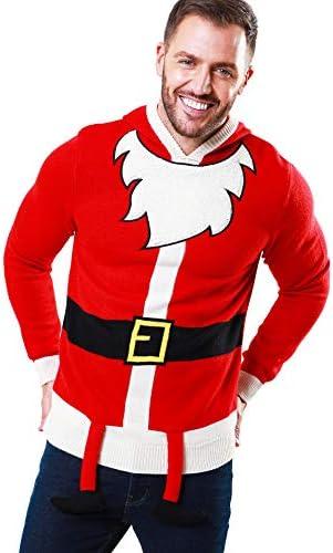 Homme Bleu Marine Star 3D Père Noël Santa Claus Noël Nouveauté Tricot Pull en mailles