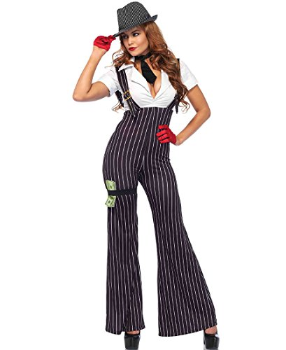 [Leg Avenue Brass Knuckle Babe Gangster Halloween Costume - Black/White - L] (Gangster Costumes For Halloween)