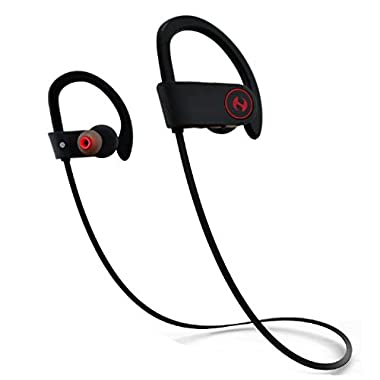 Bluetooth Headphones, Hussar Magicbuds Best Wireless Sports Earphones with Mic, IPX7 Waterproof, HD Sound with Bass, Noise Cancelling, Secure Fit, up to 9 hours working time (2017 Upgraded)