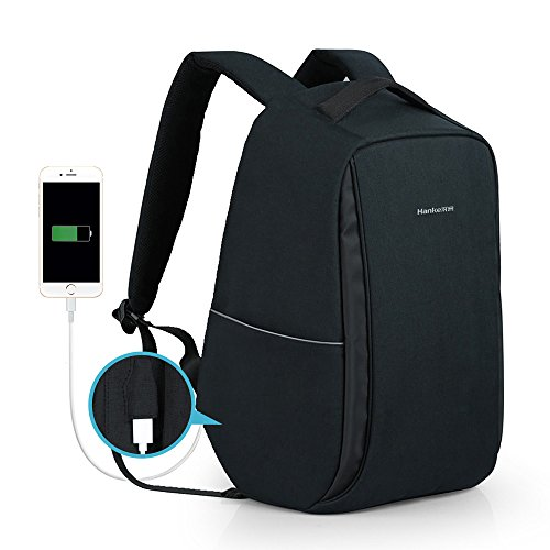 Anti Theft Travel Backpack Business Laptop Backpack Water Resistant College Student Book Bag Black With USB Charging Port For Men & Women By Hanke Review