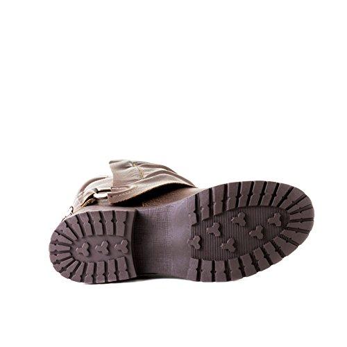 3cf124d857c3 ... Stylische Damen Biker Boots Metallic Stiefeletten Stiefel mit Schnallen  und Nieten Braun Boston