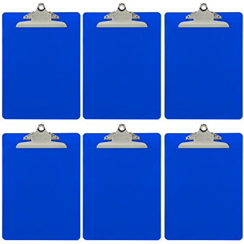 Trade Quest Plastic Clipboard Opaque Color Letter Size Standard Clip (Pack of 6) (Dark Blue)