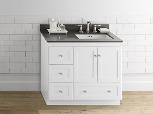 - RONBOW Essentials Shaker 36 Inch Bathroom Vanity Cabinet Base in White Finish, with Soft Close Wood Doors on Right and Full Extension Drawers 081936-3R-W01