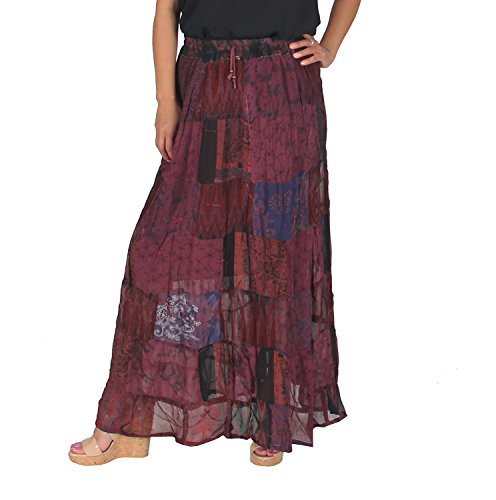 KayJayStyles Women's Hippie Bohemian Gypsy Vintage Ethnic Patchwork Long Skirt (Burgundy) Hippie Patchwork Skirts