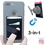 New 3-in-1 Stick On Wallet for Any Phone Case | Unique: Spandex + Mounts to Magnets + Double-Pocket + Finger Strap + RFID Block - Strong 3M Sticky + Magnetic (Black, 1 Pack)