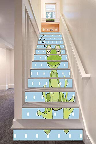 (Cartoon 3D Stair Riser Stickers Removable Wall Murals Stickers,Sleeping Prince Frog in a Cap Polka Dots Background Cute Animal World Kids Home Decor,for Home Decor 39.3