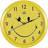 RUIFA Indoor Quiet 8-Inch Precedent Decorative Wall Clock with Arabic Numerals (Yellow)