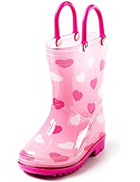 Toddler and Kids Rain Boots with Easy On Handles - Boys...