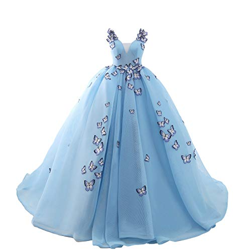 - Nyeutho Women's V-Neck Butterfly Flowers Ball Gown Wedding Dresses Bridal Gown Blue Prom Dress ...