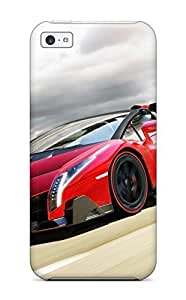 LJF phone case Snap-on 2014 Lamborghini Veneno Roadster Case Cover Skin Compatible With iphone 4/4s