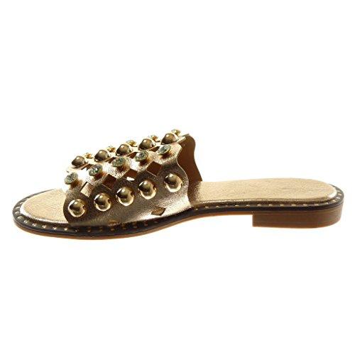 Angkorly Zapatillas Moda Sandalias Mules Slip-On Mujer Perforado Tachonado Perla Tacón Ancho 2 cm Champán