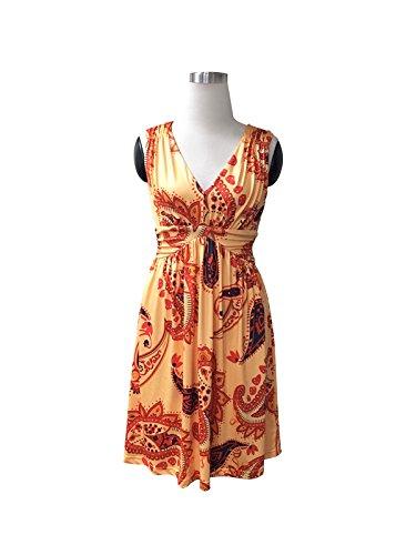 Charm Your Prince Women's Sleeveless Summer Orange Paisley Sundress M -