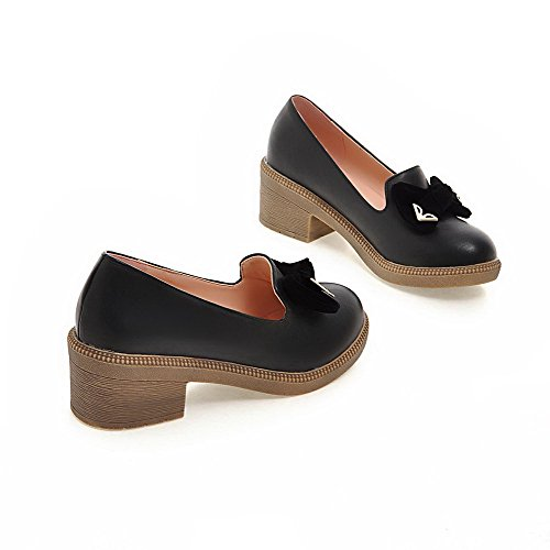Weenfashion Mujer Kitten-heels Soft Material Solid Pull-on Round Closed Loefer-flats Black