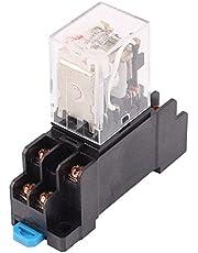 Aexit HH52P-L AC 12V Bobina 8 pines 35 mm Carril DIN Relé de potencia de luz (model: U1077IIIVII-1151VZ) roja con zócalo