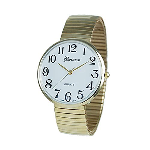 Rosemarie Collections Women's Large Round Gold Tone Geneva Stretch Band Watch