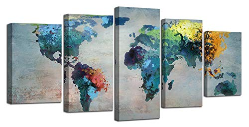 Ardemy Canvas World Map Painting Watercolor 5 Panels Framed Gallery Wrapped Wall Art, Vintage Antique Abstract Large Size Old Pictures Giclee Prints Artwork for Living Room Bedroom Home Office Decor