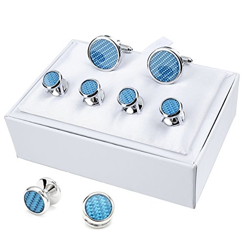 HAWSON Carbon Fiber Cuff Links and Tuxedo Studs Set, Wedding Business Gift ()