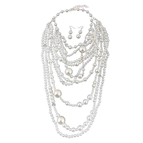Thkmeet Fashion Multilayer Strand Simulated Pearl Statement Necklace and Earrings Set Women Long Sweater Chain Choker Necklace¡