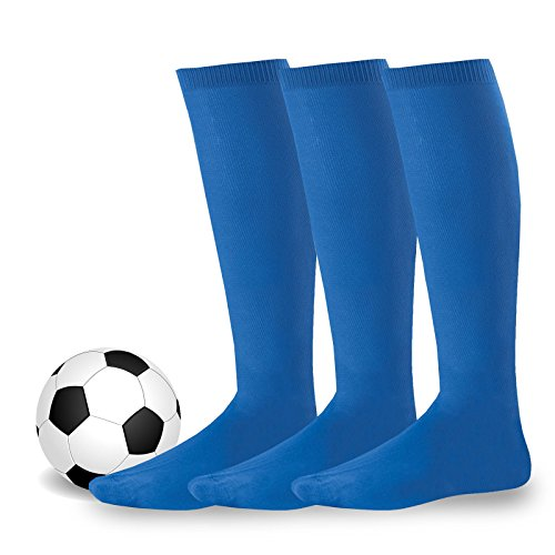Soxnet Acrylic Unisex Soccer Sports Team Cushion Socks 3 Pack (Youth (5-7), Royal (Kids Royal Blue Apparel)