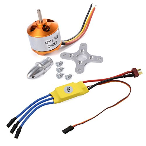 abcGoodefg 2212 2200kv Brushless Outrunner Motor W/Mount 6t + 30a ESC RC Motor Brushless Speed Controller Set for Drone Rc Quadcopter DJI Plane Aircraft