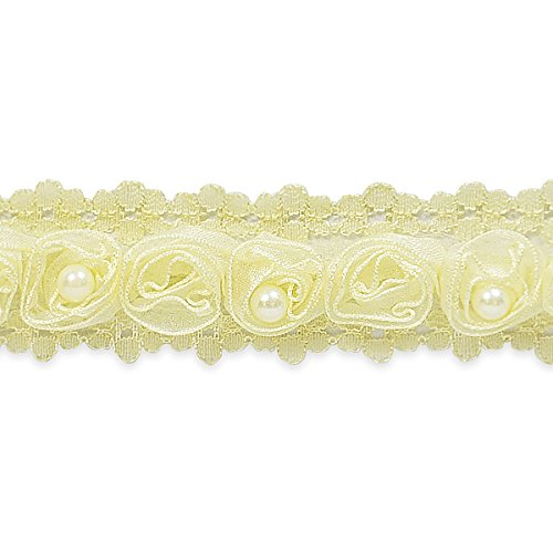 ill Ribbon Rosette and Pearl Trim Embellishment, 20-Yard, Ivory ()