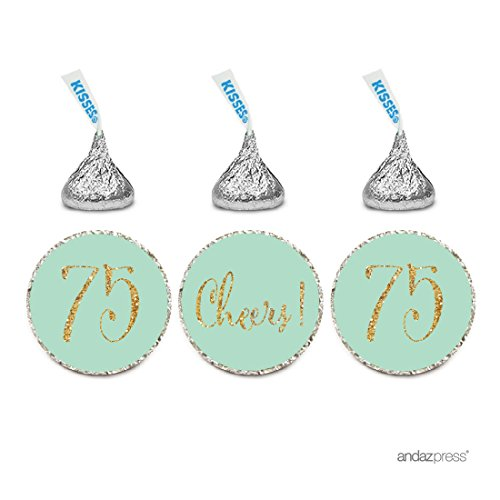 Andaz Press Gold Glitter Print Chocolate Drop Labels Stickers, Cheers 75, Happy 75th Birthday, Anniversary, Reunion, Mint Green, 216-Pack, Not Real Glitter, For Hershey's Kisses Party Favors
