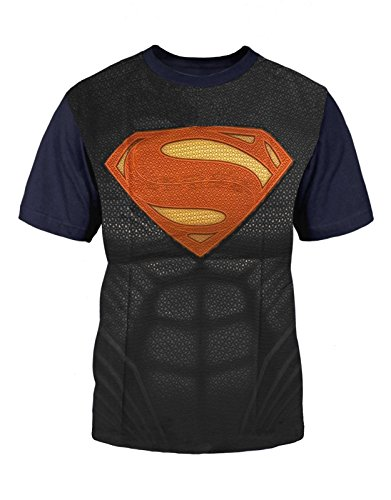 Superman Kids T Shirt Superman Suit Costume All Over Official Mens Blue Size Large (7-8 yrs)