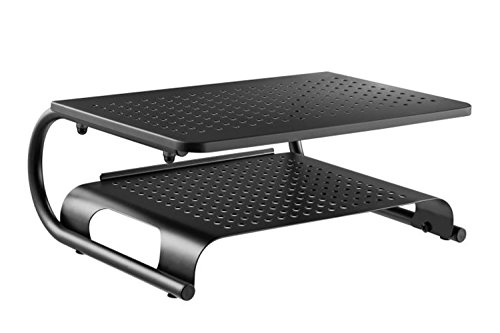 Halter LZ-500 Premium Vented Two Tier Metal Monitor Stand - 2 Tier Monitor Riser Laptop Stand w/Keyboard & Mouse Storage - Supports Up To 50 lbs (Gaming Shelf)