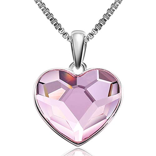 Richapex Necklace Pink Heart Crystal from Swarovski Gift for Women Birthday Anniversary