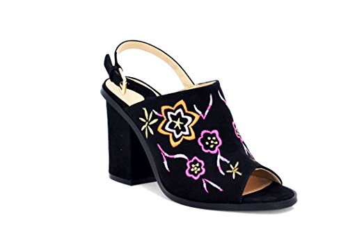 Embroidered Slingback (Jacobies Women's Sling-back Embroidered Mule (7, black))