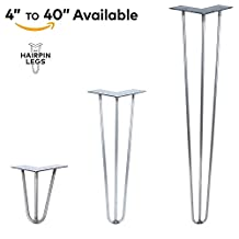 "6"" - 36"" Hairpin Legs - 3Rod Design - Raw Steel - MADE in the USA (20"" Length x 1/2"" Rod Diameter - Each Leg Sold Separately)"