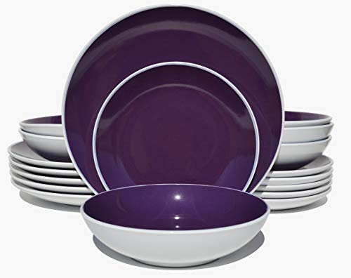 HomeVss Two-tone 18 Piece Stoneware Dinner Set, Outside Matte White + Inside Shiny Purple (Dishes Purple)