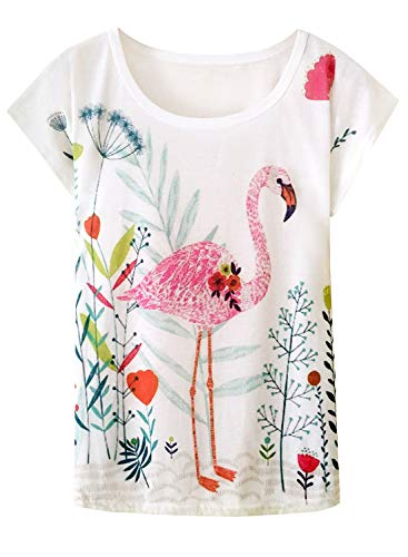 (Doballa Women's Floral Crown Garland Flamingo Pattern Short Sleeve T-Shirt Cute Tops (L, Floral Flamingo))