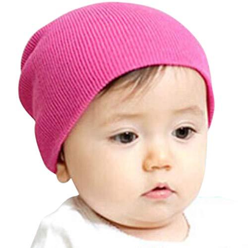 Ximandi Solid Baby Winter Hat Bonnet Enfant Kids Boy Girl Infant Cotton Soft Warm Hats (Hot Pink, Stretchable) -