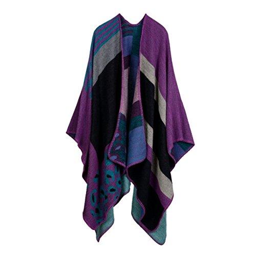 Bufanda Mujer Grueso Estupendo Caliente Grueso Clásico Mantón De La Bufanda Clásico Purple