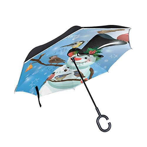 Hipster Snowman Bird Christmas Inverted Umbrella, Large Double Layer Outdoor Rain Sun Car Reversible -