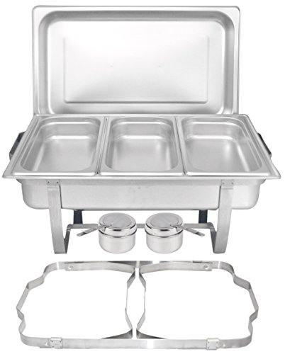 Tiger Chef 8 Quart Full Size Stainless Steel Chafer with Folding Frame and 3 1/3rd Size Chafing Food Pans and Cool-Touch Plastic on Top