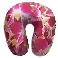BRECKSUCH Orchid Flower Print U Shaped Pillow Memory Foam Neck Pillow for Travel and Relief Neck Pain Comfortable Super Soft Cervical Pillows with Resilient Material Relex Pollow